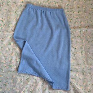 Sky blue knit pencil skirt - vintage